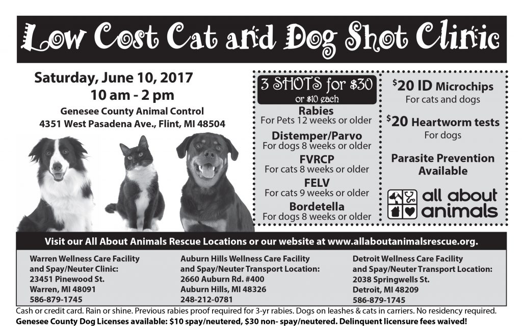 Shot Clinic Genesee County Animal Control @ Genesee County Animal Control